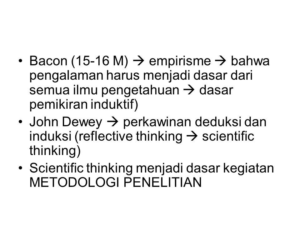 Bacon (15-16 M)  empirisme  bahwa pengalaman harus menjadi dasar dari semua ilmu pengetahuan  dasar pemikiran induktif) John Dewey  perkawinan deduksi dan induksi (reflective thinking  scientific thinking) Scientific thinking menjadi dasar kegiatan METODOLOGI PENELITIAN