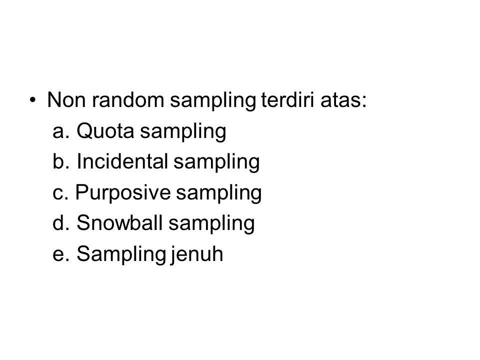 Non random sampling terdiri atas: a. Quota sampling b. Incidental sampling c. Purposive sampling d. Snowball sampling e. Sampling jenuh