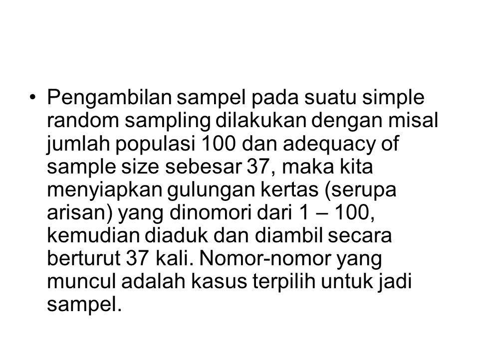 Pengambilan sampel pada suatu simple random sampling dilakukan dengan misal jumlah populasi 100 dan adequacy of sample size sebesar 37, maka kita meny