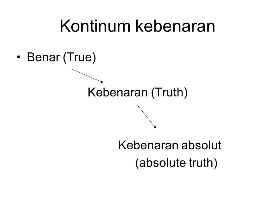 Kontinum kebenaran Benar (True) Kebenaran (Truth) Kebenaran absolut (absolute truth)