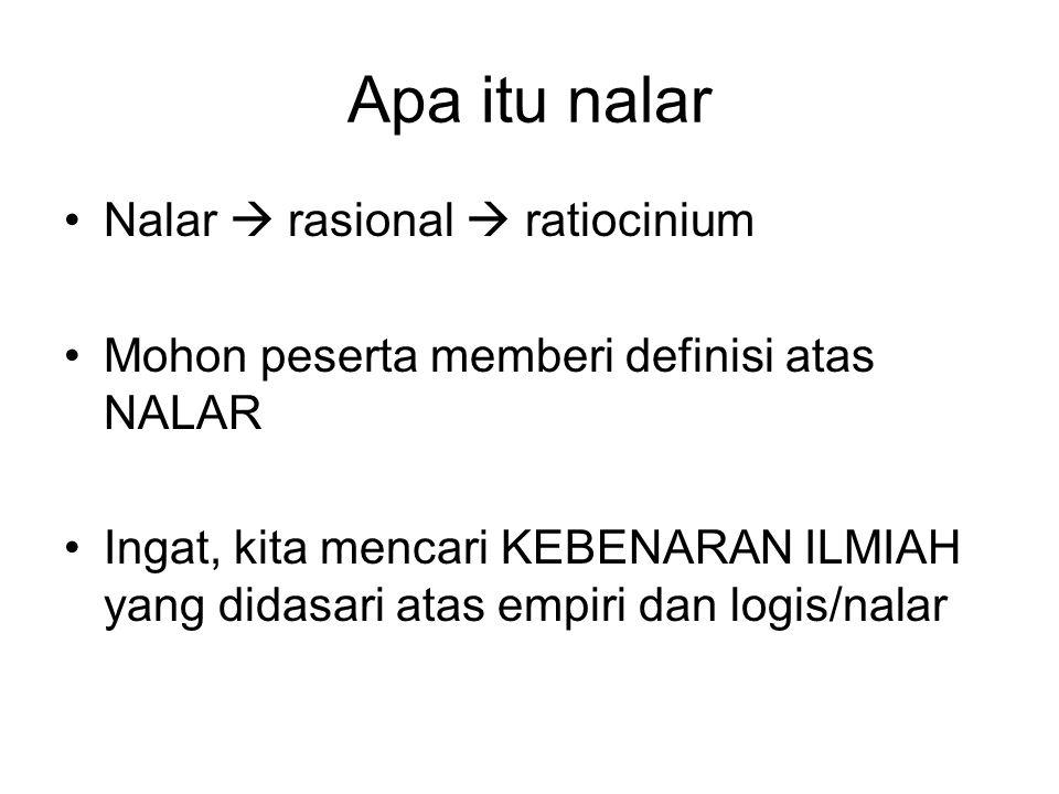 Apa itu nalar Nalar  rasional  ratiocinium Mohon peserta memberi definisi atas NALAR Ingat, kita mencari KEBENARAN ILMIAH yang didasari atas empiri dan logis/nalar
