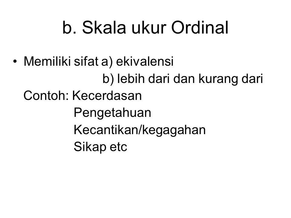 b. Skala ukur Ordinal Memiliki sifat a) ekivalensi b) lebih dari dan kurang dari Contoh: Kecerdasan Pengetahuan Kecantikan/kegagahan Sikap etc