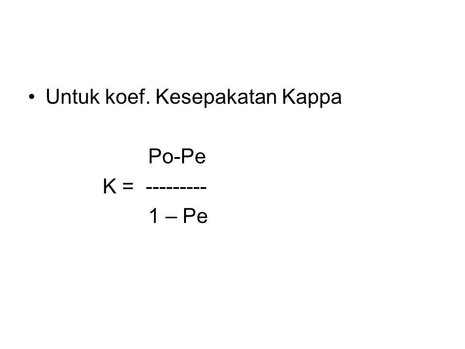 Untuk koef. Kesepakatan Kappa Po-Pe K = --------- 1 – Pe