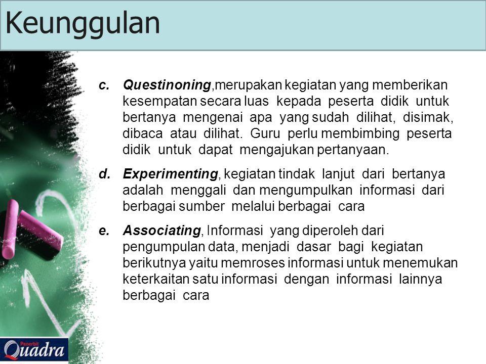 c.Questinoning,merupakan kegiatan yang memberikan kesempatan secara luas kepada peserta didik untuk bertanya mengenai apa yang sudah dilihat, disimak, dibaca atau dilihat.