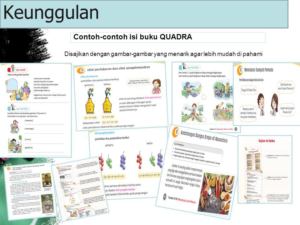 Contoh-contoh isi buku QUADRA Disajikan dengan gambar-gambar yang menarik agar lebih mudah di pahami