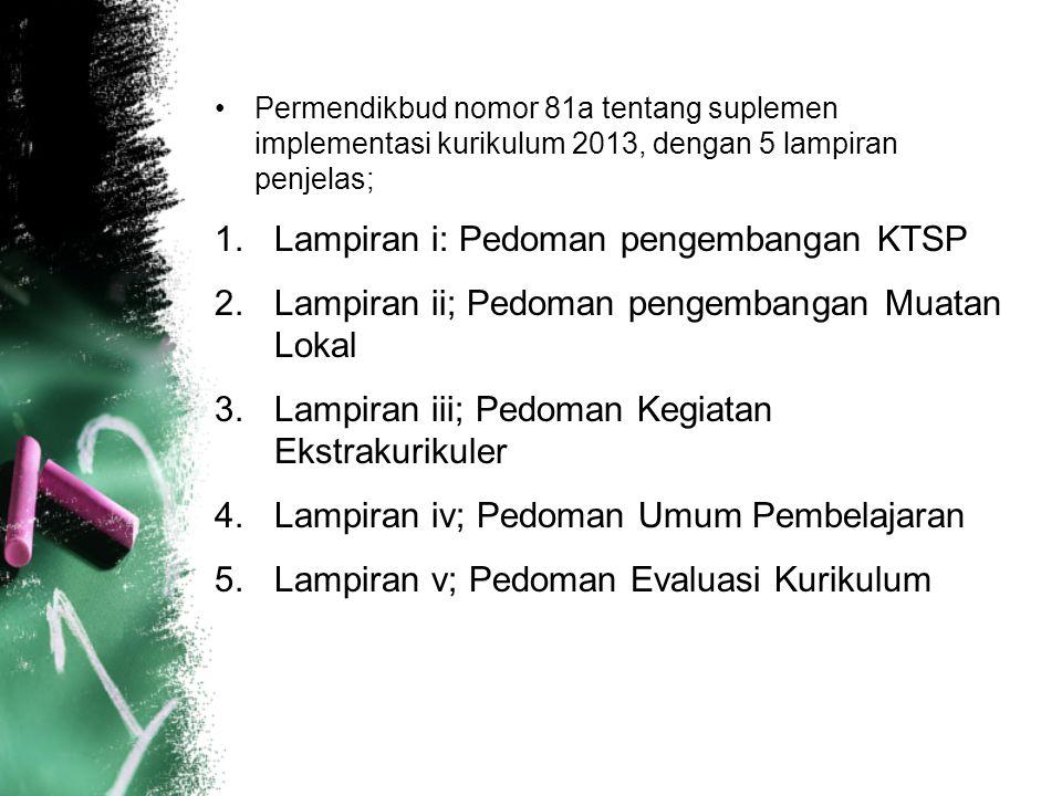 Permendikbud nomor 81a tentang suplemen implementasi kurikulum 2013, dengan 5 lampiran penjelas; 1.Lampiran i: Pedoman pengembangan KTSP 2.Lampiran ii; Pedoman pengembangan Muatan Lokal 3.Lampiran iii; Pedoman Kegiatan Ekstrakurikuler 4.Lampiran iv; Pedoman Umum Pembelajaran 5.Lampiran v; Pedoman Evaluasi Kurikulum