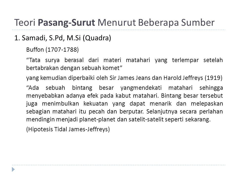 "Teori Pasang-Surut Menurut Beberapa Sumber 1. Samadi, S.Pd, M.Si (Quadra) Buffon (1707-1788) ""Tata surya berasal dari materi matahari yang terlempar s"