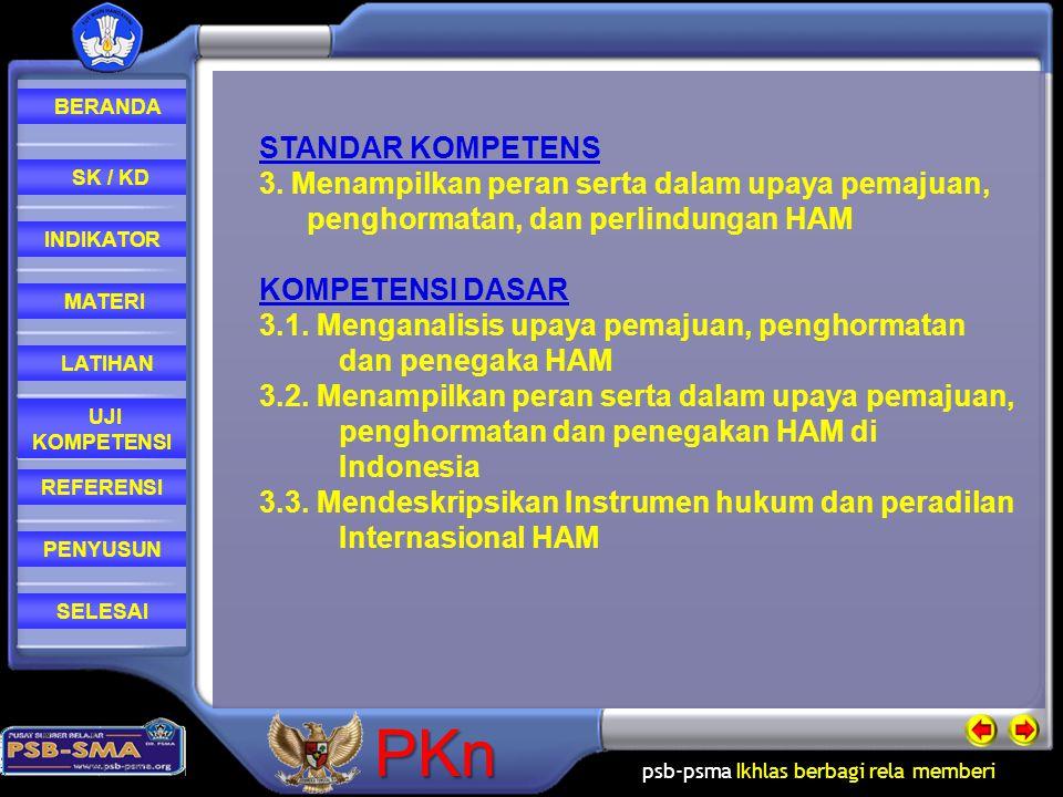 psb-psma Ikhlas berbagi rela memberi REFERENSI LATIHAN MATERI PENYUSUN INDIKATOR SK / KD UJI KOMPETENSI BERANDA SELESAIPKn STANDAR KOMPETENS 3. Menamp