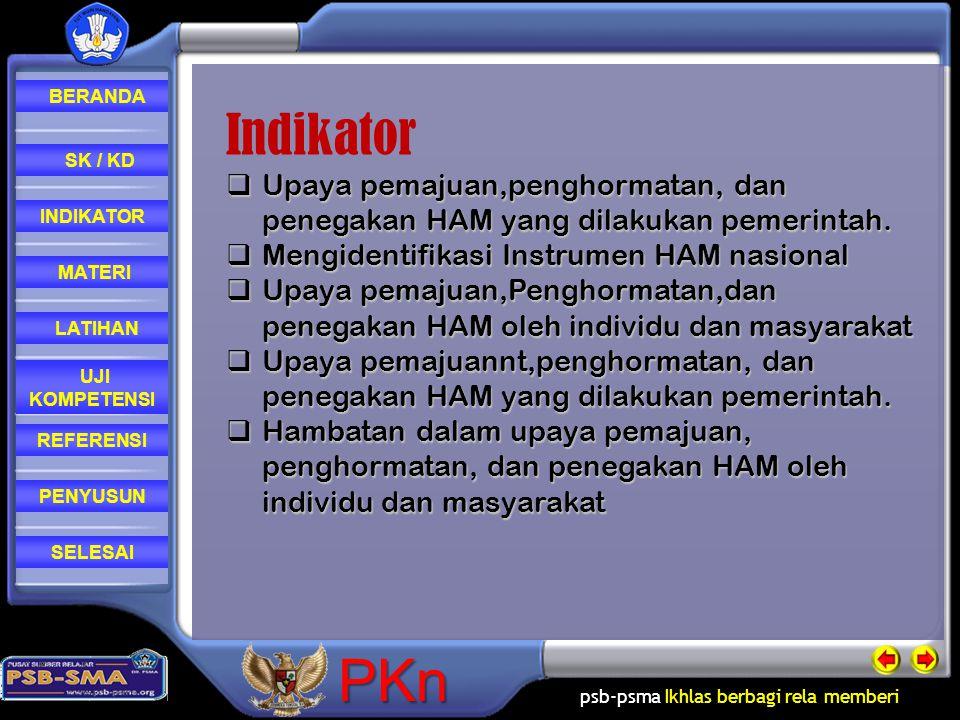 psb-psma Ikhlas berbagi rela memberi REFERENSI LATIHAN MATERI PENYUSUN INDIKATOR SK / KD UJI KOMPETENSI BERANDA SELESAIPKn Dalam usaha menegakkan HAM di sebuah negara, khususnya di Indonesia partisipasi pemerintah dan masyarakat sangatlah dibutuhkan.