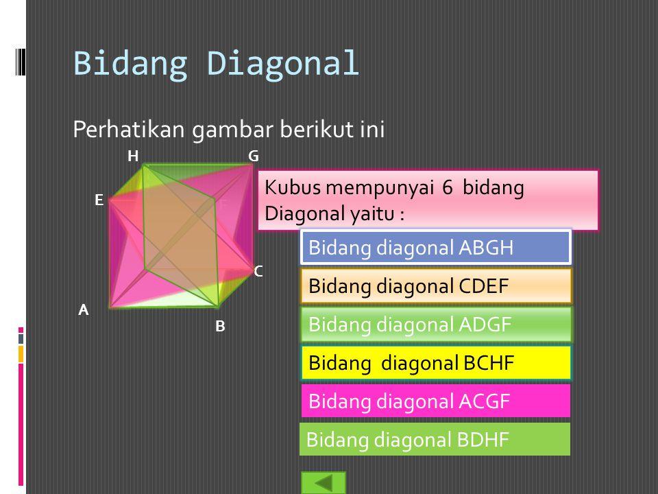 Bidang Diagonal Perhatikan gambar berikut ini Kubus mempunyai 6 bidang Diagonal yaitu : B A C D E F GH Bidang diagonal ABGH Bidang diagonal CDEF Bidan