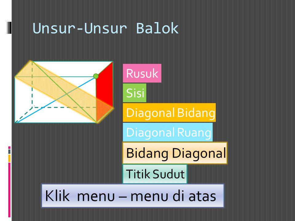 Unsur-Unsur Balok Rusuk Sisi Diagonal Bidang Diagonal Ruang Bidang Diagonal Titik Sudut Klik menu – menu di atas