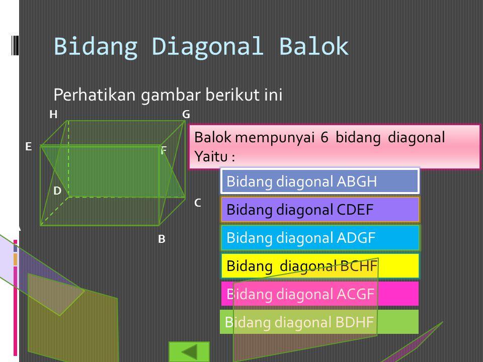 Bidang Diagonal Balok Perhatikan gambar berikut ini Balok mempunyai 6 bidang diagonal Yaitu : B A C D E F GH Bidang diagonal ABGH Bidang diagonal CDEF