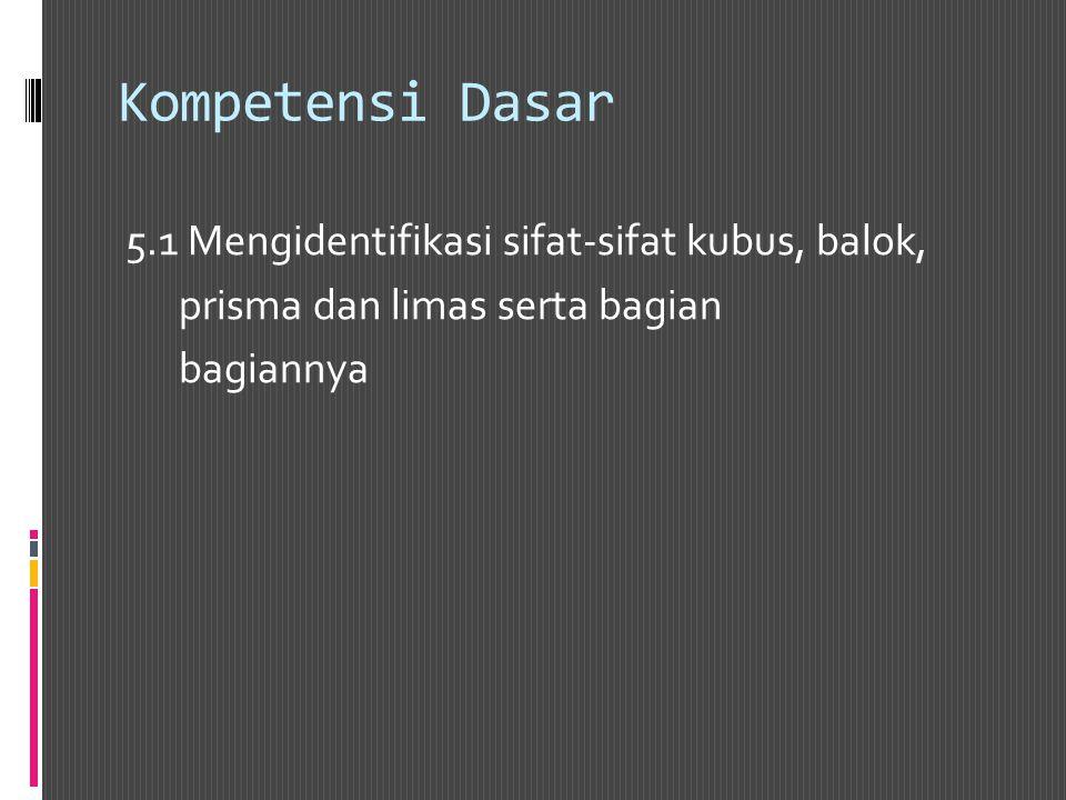 Kompetensi Dasar 5.1 Mengidentifikasi sifat-sifat kubus, balok, prisma dan limas serta bagian bagiannya