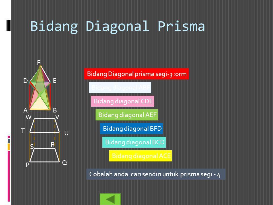 Bidang Diagonal Prisma AB C DE F P Q R S T U VW Bidang Diagonal prisma segi-3 :orm Bidang diagonal ABF Bidang diagonal CDE Bidang diagonal AEF Bidang