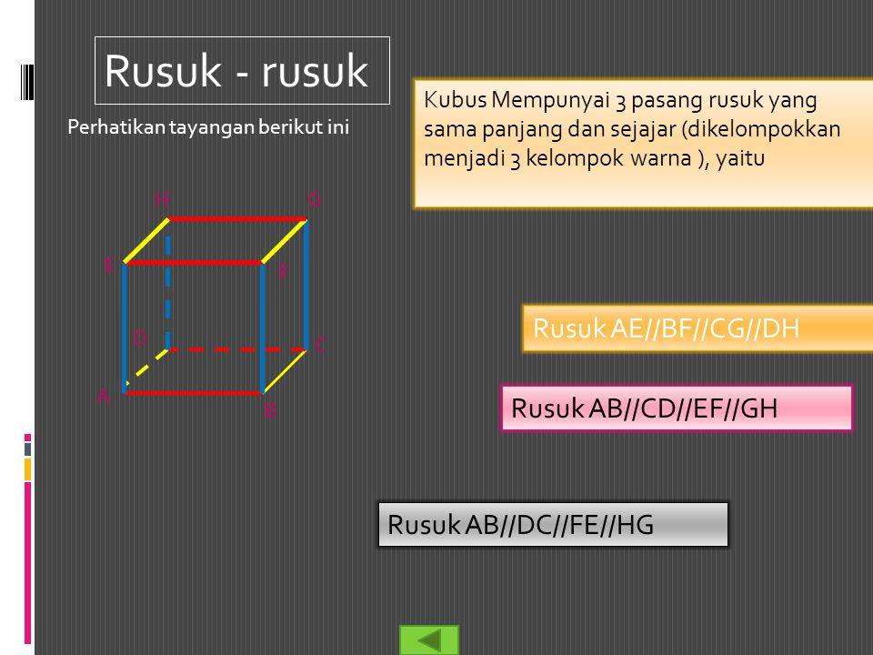 Rusuk - rusuk Kubus Mempunyai 3 pasang rusuk yang sama panjang dan sejajar (dikelompokkan menjadi 3 kelompok warna ), yaitu Rusuk AB//CD//EF//GH Rusuk