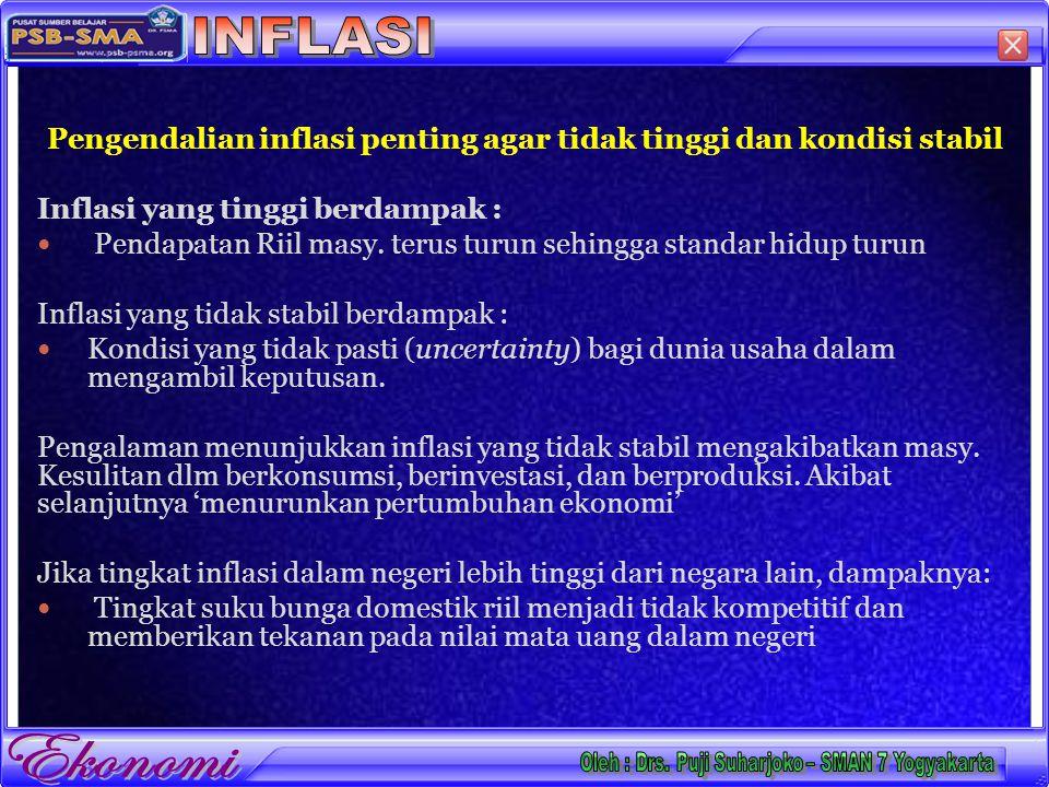 Pengendalian inflasi penting agar tidak tinggi dan kondisi stabil Inflasi yang tinggi berdampak : Pendapatan Riil masy.