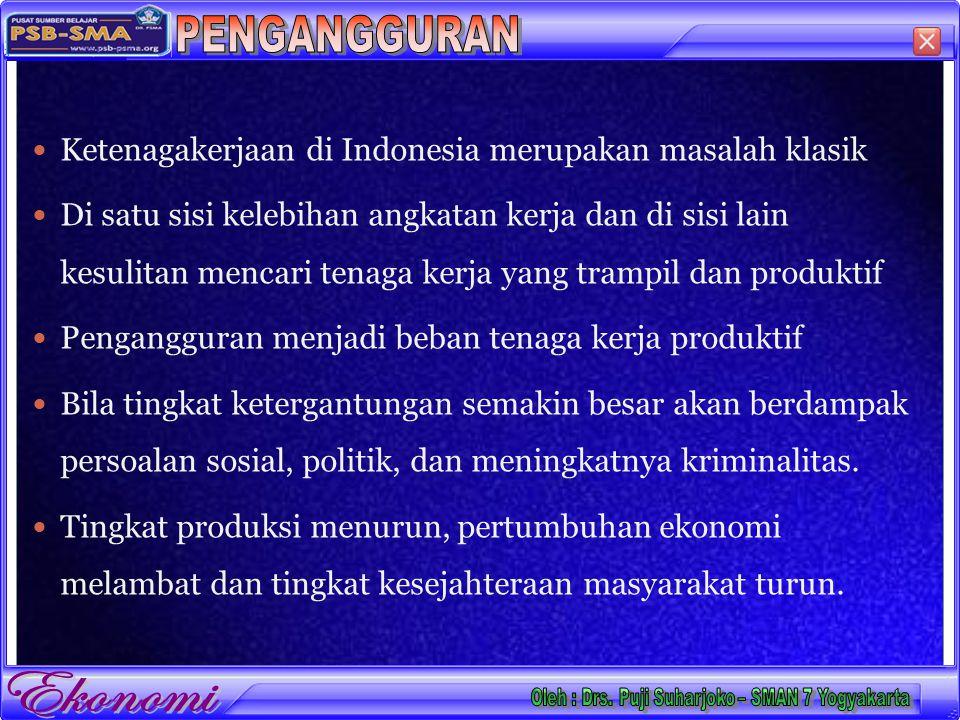 Ketenagakerjaan di Indonesia merupakan masalah klasik Di satu sisi kelebihan angkatan kerja dan di sisi lain kesulitan mencari tenaga kerja yang trampil dan produktif Pengangguran menjadi beban tenaga kerja produktif Bila tingkat ketergantungan semakin besar akan berdampak persoalan sosial, politik, dan meningkatnya kriminalitas.