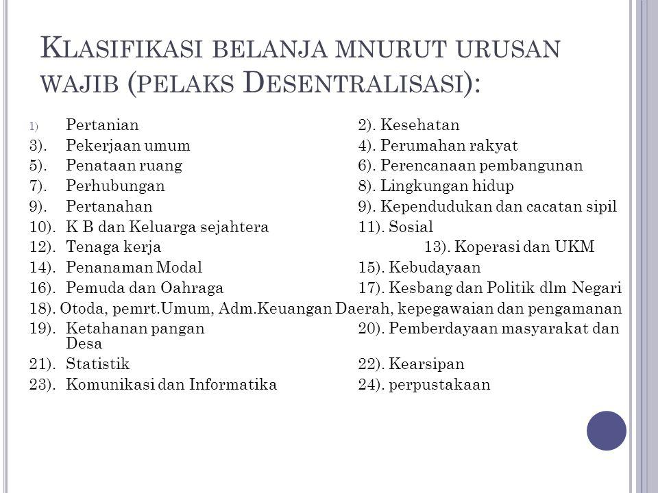K LASIFIKASI BELANJA MNURUT URUSAN WAJIB ( PELAKS D ESENTRALISASI ): 1) Pertanian2). Kesehatan 3). Pekerjaan umum4). Perumahan rakyat 5).Penataan ruan
