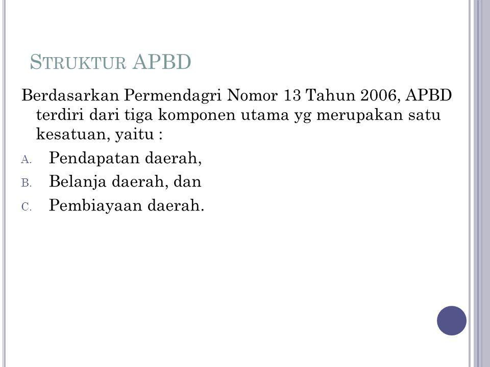 S TRUKTUR APBD Berdasarkan Permendagri Nomor 13 Tahun 2006, APBD terdiri dari tiga komponen utama yg merupakan satu kesatuan, yaitu : A. Pendapatan da