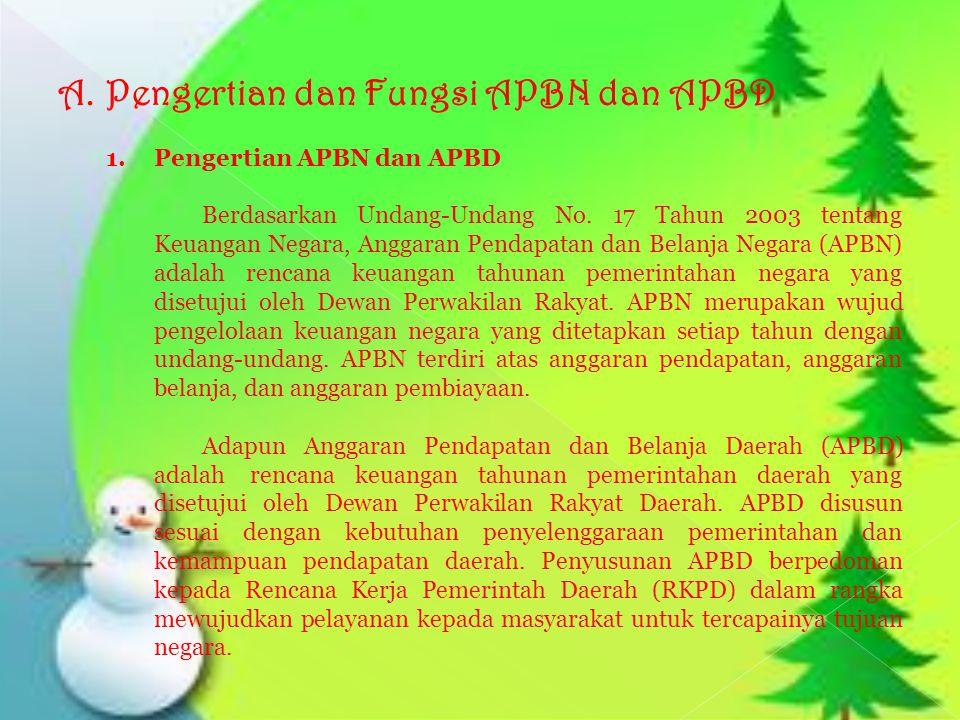 A.Pengertian dan Fungsi APBN dan APBD 1. Pengertian APBN dan APBD Berdasarkan Undang-Undang No. 17 Tahun 2003 tentang Keuangan Negara, Anggaran Pendap