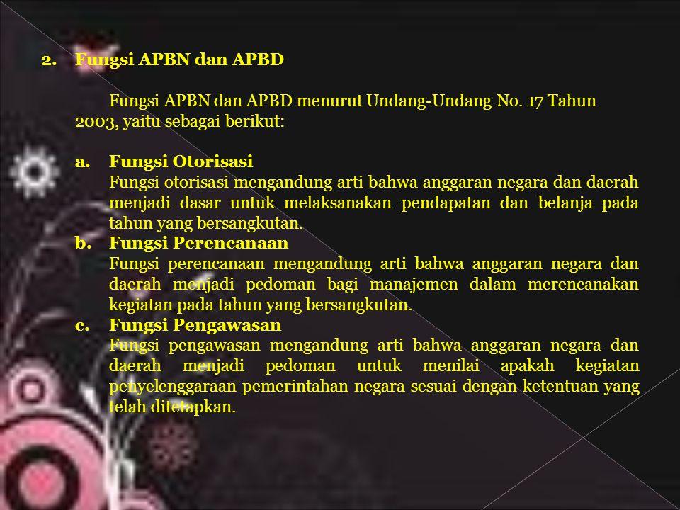 2.Fungsi APBN dan APBD Fungsi APBN dan APBD menurut Undang-Undang No. 17 Tahun 2003, yaitu sebagai berikut: a. Fungsi Otorisasi Fungsi otorisasi menga