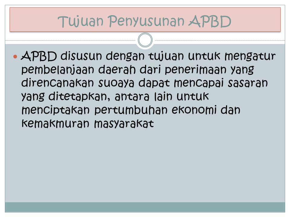 Tujuan Penyusunan APBD APBD disusun dengan tujuan untuk mengatur pembelanjaan daerah dari penerimaan yang direncanakan suoaya dapat mencapai sasaran y