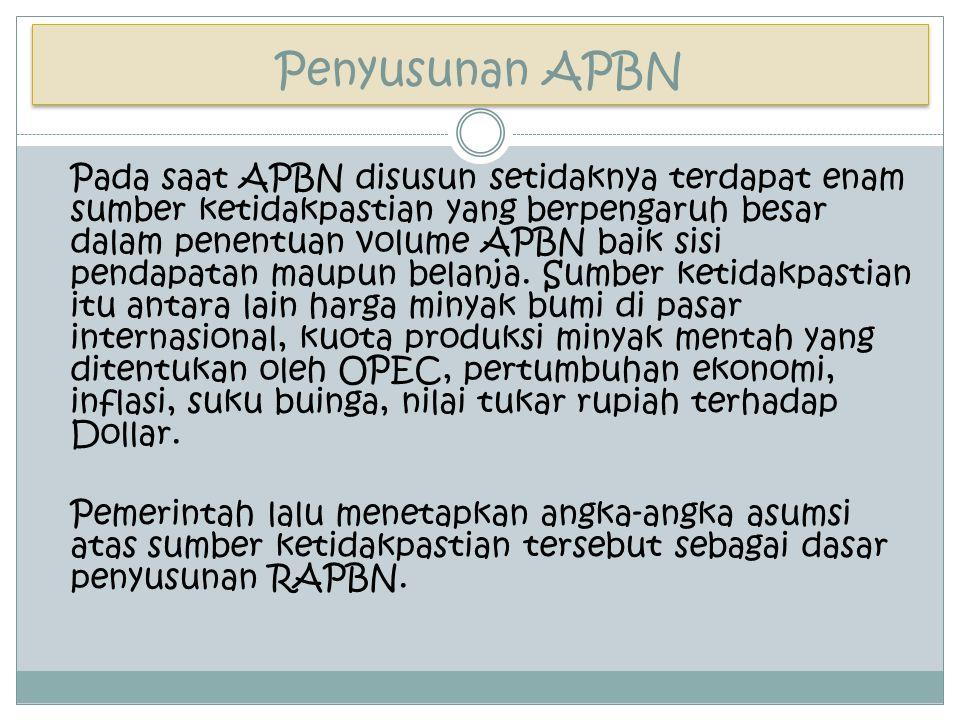 Penyusunan APBN Pada saat APBN disusun setidaknya terdapat enam sumber ketidakpastian yang berpengaruh besar dalam penentuan volume APBN baik sisi pen
