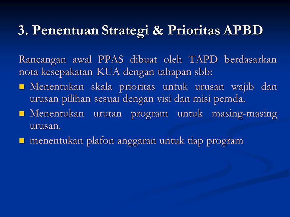 Rancangan awal PPAS dibuat oleh TAPD berdasarkan nota kesepakatan KUA dengan tahapan sbb: Menentukan skala prioritas untuk urusan wajib dan urusan pilihan sesuai dengan visi dan misi pemda.
