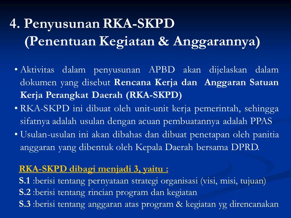 4. Penyusunan RKA-SKPD (Penentuan Kegiatan & Anggarannya) Aktivitas dalam penyusunan APBD akan dijelaskan dalam dokumen yang disebut Rencana Kerja dan