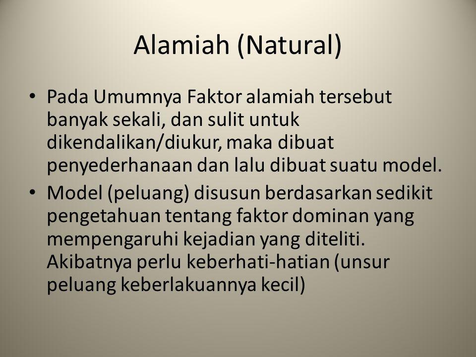 Alamiah (Natural) Pada Umumnya Faktor alamiah tersebut banyak sekali, dan sulit untuk dikendalikan/diukur, maka dibuat penyederhanaan dan lalu dibuat