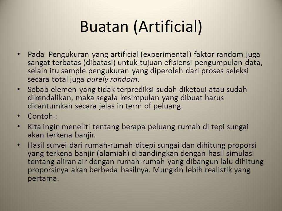 Buatan (Artificial) Pada Pengukuran yang artificial (experimental) faktor random juga sangat terbatas (dibatasi) untuk tujuan efisiensi pengumpulan da