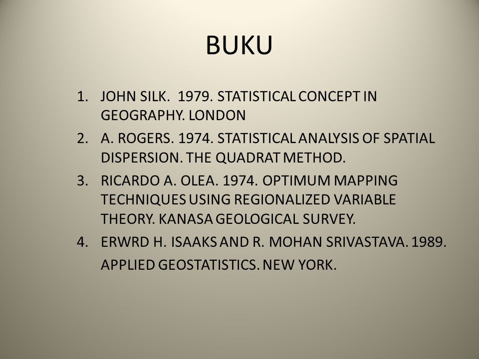 BUKU 1.JOHN SILK. 1979. STATISTICAL CONCEPT IN GEOGRAPHY. LONDON 2.A. ROGERS. 1974. STATISTICAL ANALYSIS OF SPATIAL DISPERSION. THE QUADRAT METHOD. 3.