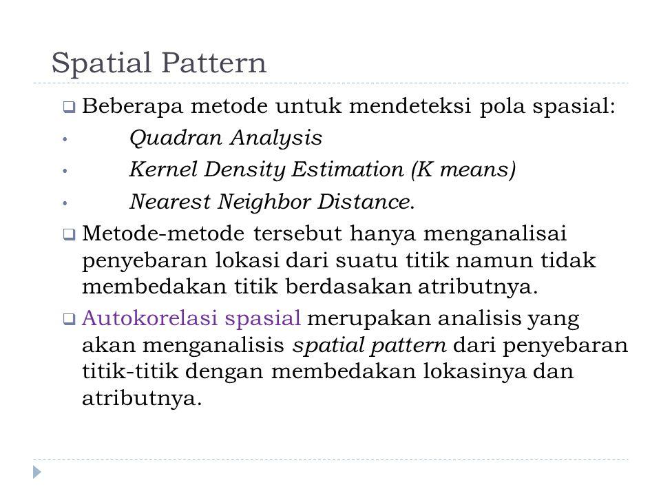 Spatial Pattern  Beberapa metode untuk mendeteksi pola spasial: Quadran Analysis Kernel Density Estimation (K means) Nearest Neighbor Distance.  Met
