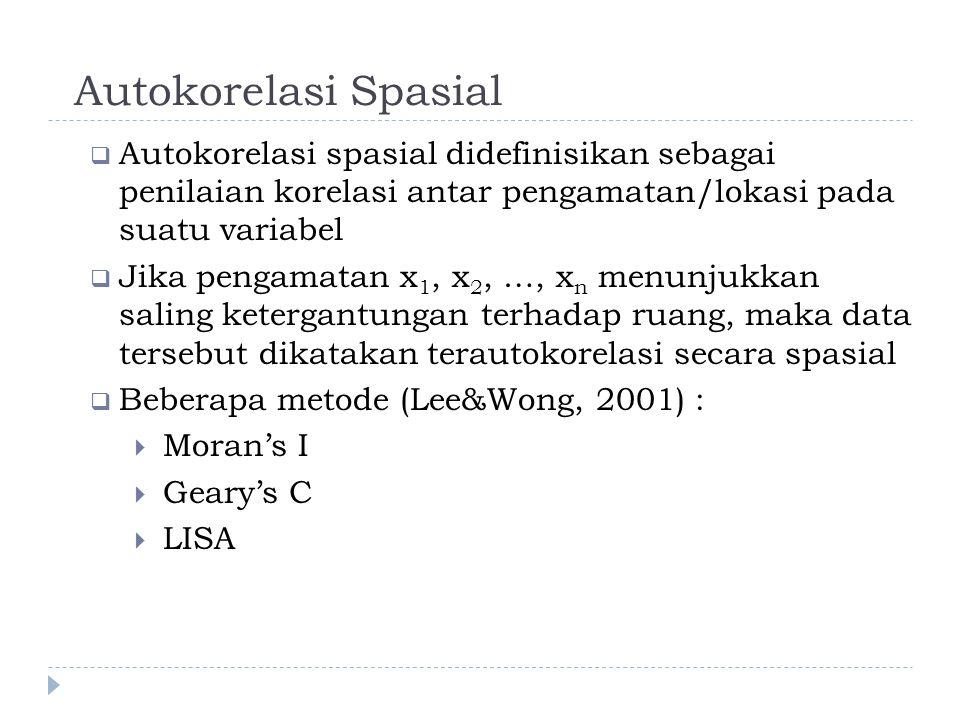 Autokorelasi Spasial  Autokorelasi spasial didefinisikan sebagai penilaian korelasi antar pengamatan/lokasi pada suatu variabel  Jika pengamatan x 1, x 2, …, x n menunjukkan saling ketergantungan terhadap ruang, maka data tersebut dikatakan terautokorelasi secara spasial  Beberapa metode (Lee&Wong, 2001) :  Moran's I  Geary's C  LISA