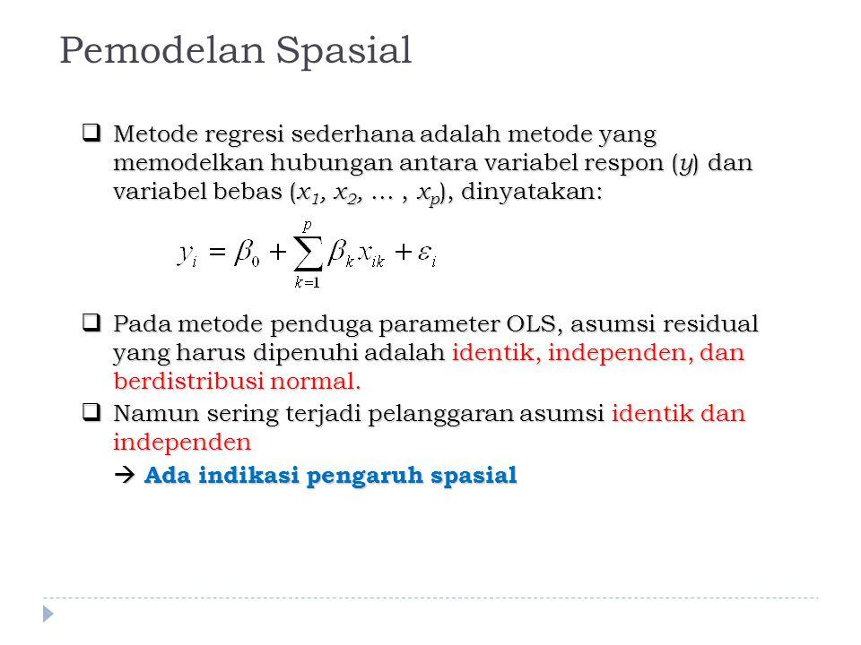  Metode regresi sederhana adalah metode yang memodelkan hubungan antara variabel respon ( y ) dan variabel bebas ( x 1, x 2,..., x p ), dinyatakan:  Pada metode penduga parameter OLS, asumsi residual yang harus dipenuhi adalah identik, independen, dan berdistribusi normal.