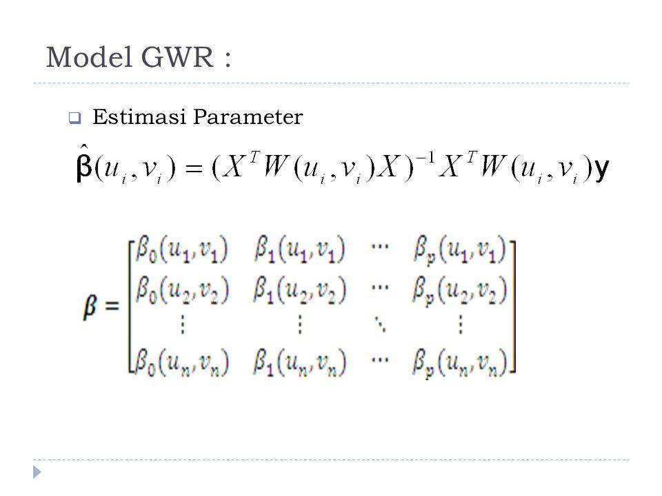 Model GWR :  Estimasi Parameter