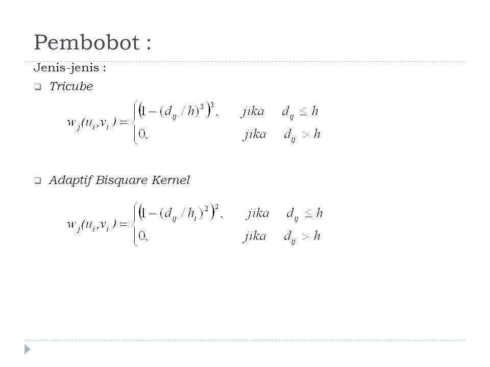 Pembobot : Jenis-jenis :  Tricube  Adaptif Bisquare Kernel