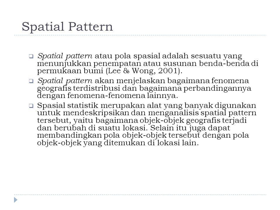 Spatial Pattern  Spatial pattern atau pola spasial adalah sesuatu yang menunjukkan penempatan atau susunan benda-benda di permukaan bumi (Lee & Wong, 2001).