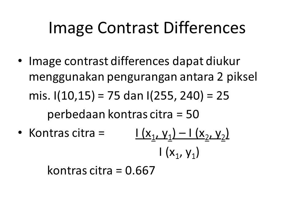Image Contrast Differences Image contrast differences dapat diukur menggunakan pengurangan antara 2 piksel mis. I(10,15) = 75 dan I(255, 240) = 25 per