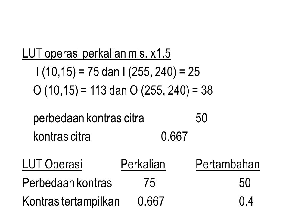 LUT operasi perkalian mis. x1.5 I (10,15) = 75 dan I (255, 240) = 25 O (10,15) = 113 dan O (255, 240) = 38 perbedaan kontras citra50 kontras citra 0.6
