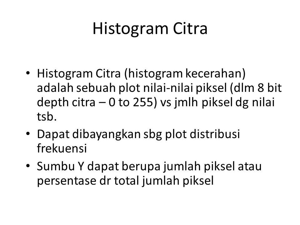Histogram Citra Histogram Citra (histogram kecerahan) adalah sebuah plot nilai-nilai piksel (dlm 8 bit depth citra – 0 to 255) vs jmlh piksel dg nilai