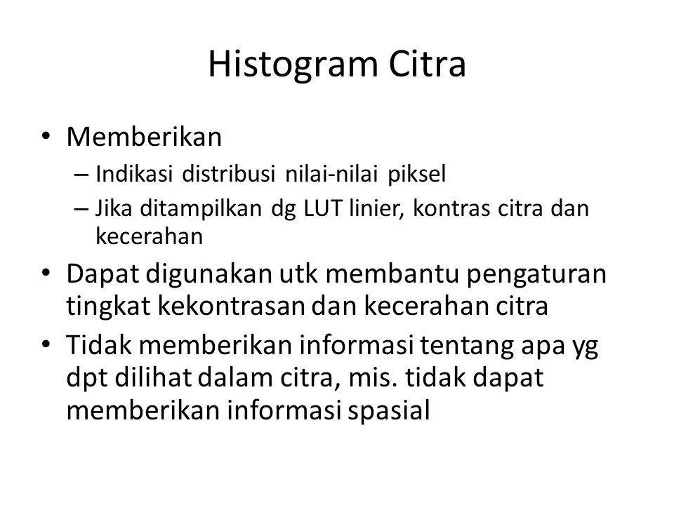 Histogram Citra Memberikan – Indikasi distribusi nilai-nilai piksel – Jika ditampilkan dg LUT linier, kontras citra dan kecerahan Dapat digunakan utk