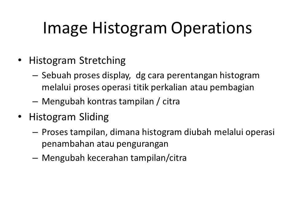 Image Histogram Operations Histogram Stretching – Sebuah proses display, dg cara perentangan histogram melalui proses operasi titik perkalian atau pem