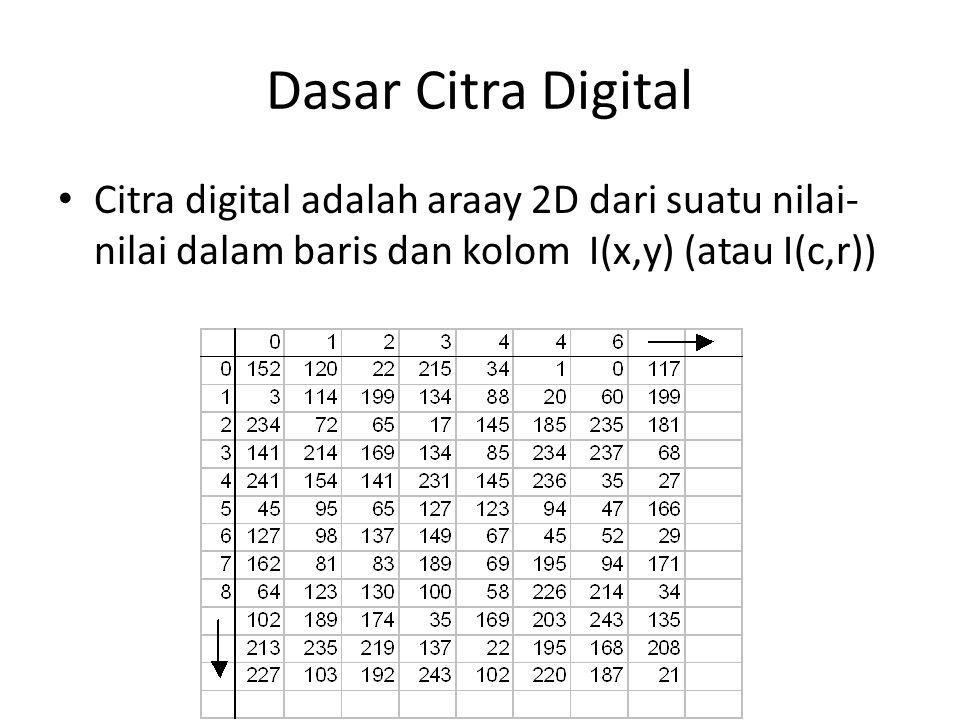 Dasar Citra Digital Citra digital adalah araay 2D dari suatu nilai- nilai dalam baris dan kolom I(x,y) (atau I(c,r))
