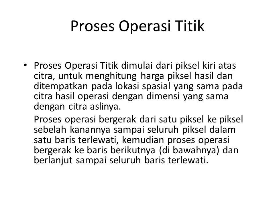 Proses Operasi Titik Proses Operasi Titik dimulai dari piksel kiri atas citra, untuk menghitung harga piksel hasil dan ditempatkan pada lokasi spasial