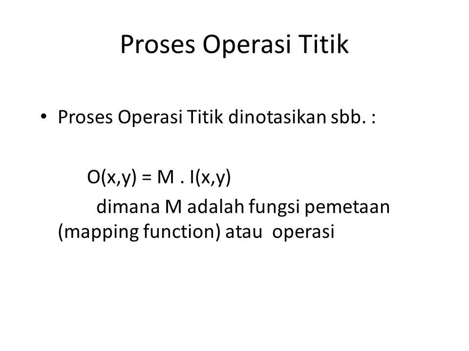 Proses Operasi Titik Proses Operasi Titik dinotasikan sbb. : O(x,y) = M. I(x,y) dimana M adalah fungsi pemetaan (mapping function) atau operasi