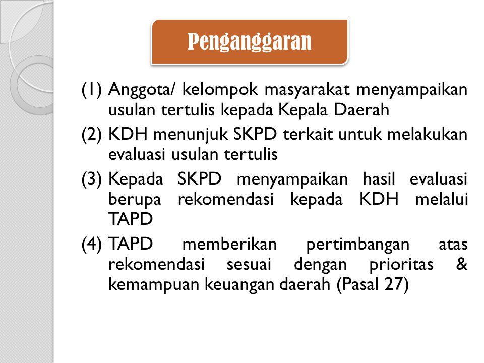 (1)Anggota/ kelompok masyarakat menyampaikan usulan tertulis kepada Kepala Daerah (2)KDH menunjuk SKPD terkait untuk melakukan evaluasi usulan tertulis (3)Kepada SKPD menyampaikan hasil evaluasi berupa rekomendasi kepada KDH melalui TAPD (4)TAPD memberikan pertimbangan atas rekomendasi sesuai dengan prioritas & kemampuan keuangan daerah (Pasal 27) Penganggaran