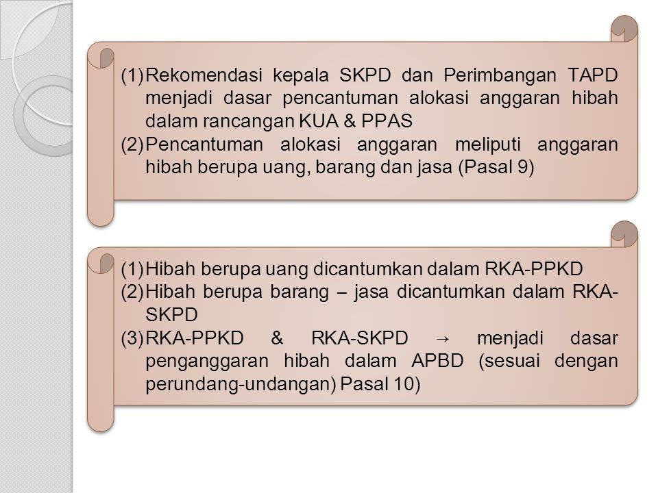 (1)Rekomendasi kepala SKPD dan Perimbangan TAPD menjadi dasar pencantuman alokasi anggaran hibah dalam rancangan KUA & PPAS (2)Pencantuman alokasi anggaran meliputi anggaran hibah berupa uang, barang dan jasa (Pasal 9) (1)Rekomendasi kepala SKPD dan Perimbangan TAPD menjadi dasar pencantuman alokasi anggaran hibah dalam rancangan KUA & PPAS (2)Pencantuman alokasi anggaran meliputi anggaran hibah berupa uang, barang dan jasa (Pasal 9) (1)Hibah berupa uang dicantumkan dalam RKA-PPKD (2)Hibah berupa barang – jasa dicantumkan dalam RKA- SKPD (3)RKA-PPKD & RKA-SKPD → menjadi dasar penganggaran hibah dalam APBD (sesuai dengan perundang-undangan) Pasal 10) (1)Hibah berupa uang dicantumkan dalam RKA-PPKD (2)Hibah berupa barang – jasa dicantumkan dalam RKA- SKPD (3)RKA-PPKD & RKA-SKPD → menjadi dasar penganggaran hibah dalam APBD (sesuai dengan perundang-undangan) Pasal 10)