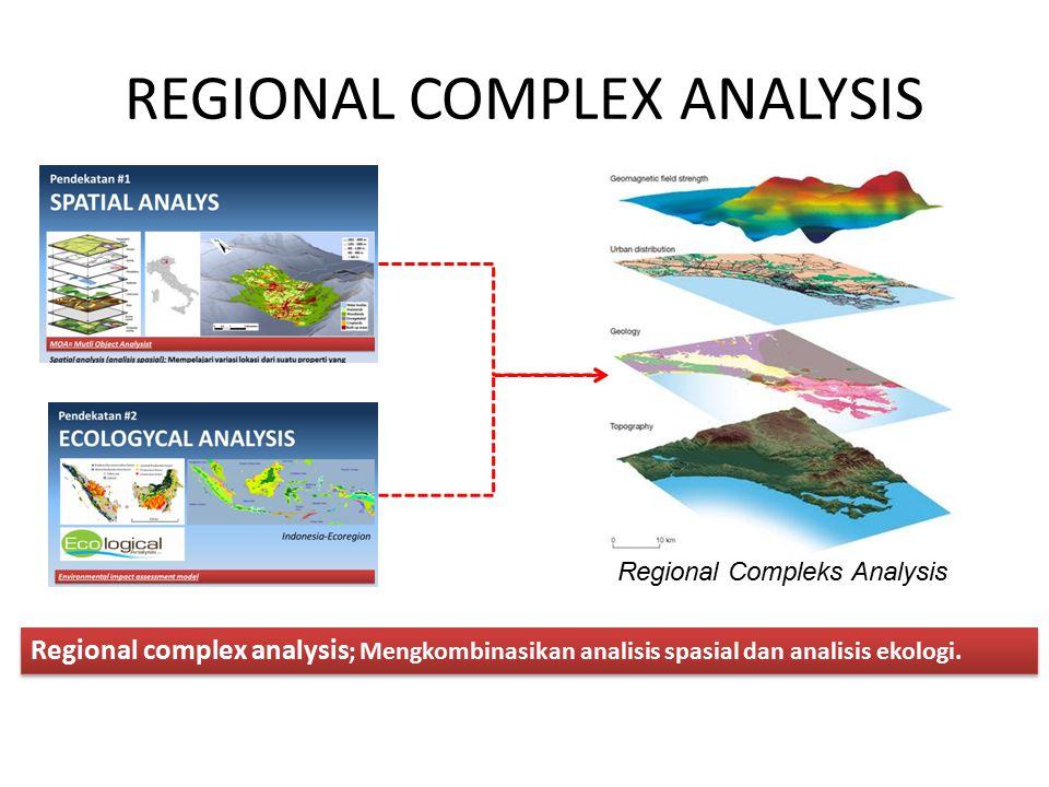 REGIONAL COMPLEX ANALYSIS Regional complex analysis ; Mengkombinasikan analisis spasial dan analisis ekologi. Regional Compleks Analysis