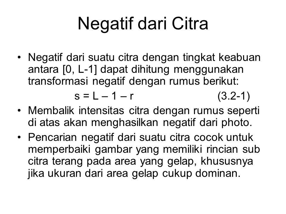 Negatif dari Citra Negatif dari suatu citra dengan tingkat keabuan antara [0, L-1] dapat dihitung menggunakan transformasi negatif dengan rumus beriku